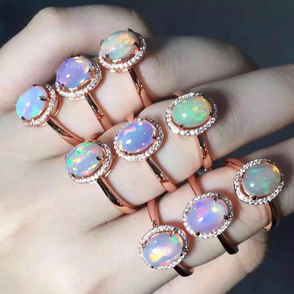 Offre spéciale bague femme opale rétro S925 en argent Sterling couleur or Rose bague opale