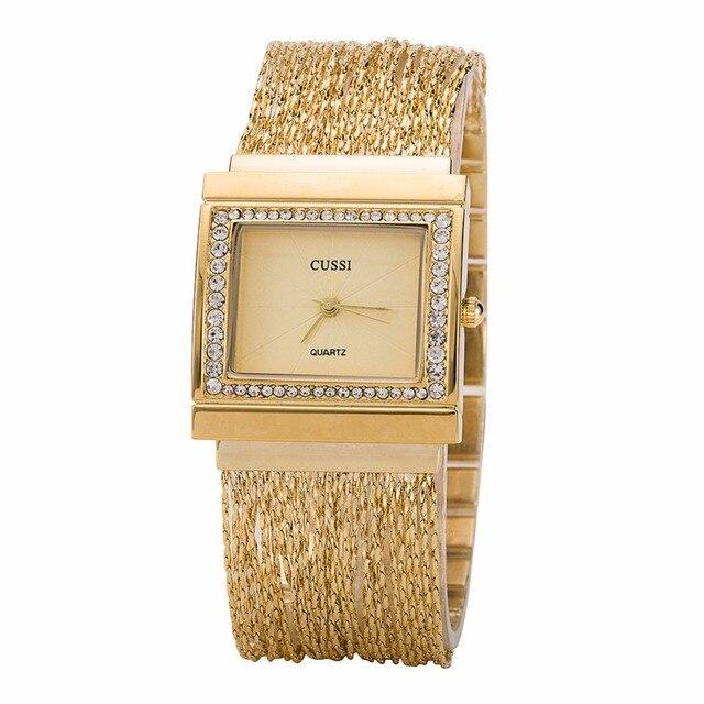 CUSSI 2018 New Rectangle Womens Watches Luxury Rhinestone Ladies Bracelet Watche