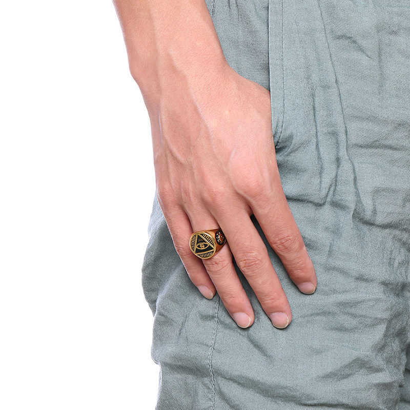 Vnox под старину Для мужчин кольцо Треугольники Всевидящее Око Иллюминаты Пирамида Всевидящее Око stainelss Сталь Мужской панк ювелирные изделия