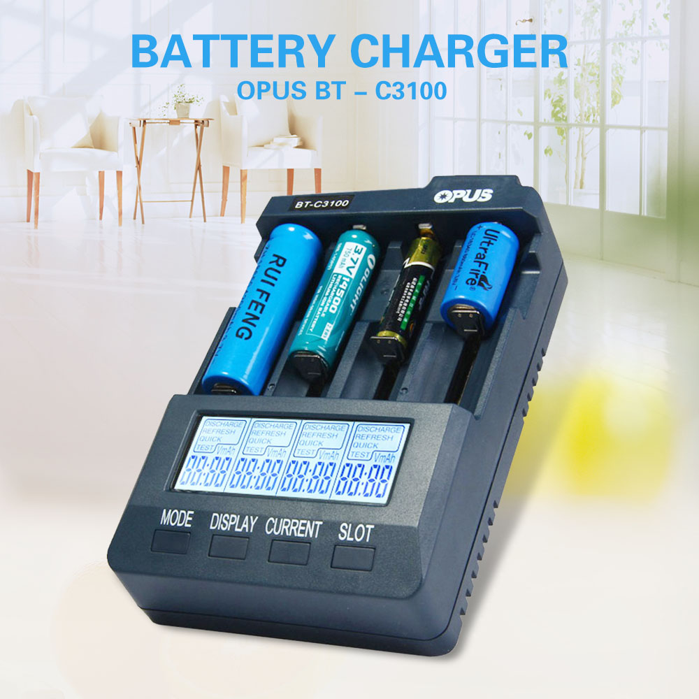 Original Opus BT C3100 V2 2 Smart Digital Intelligent 4 Slot Battery Charger Li ion NiCd