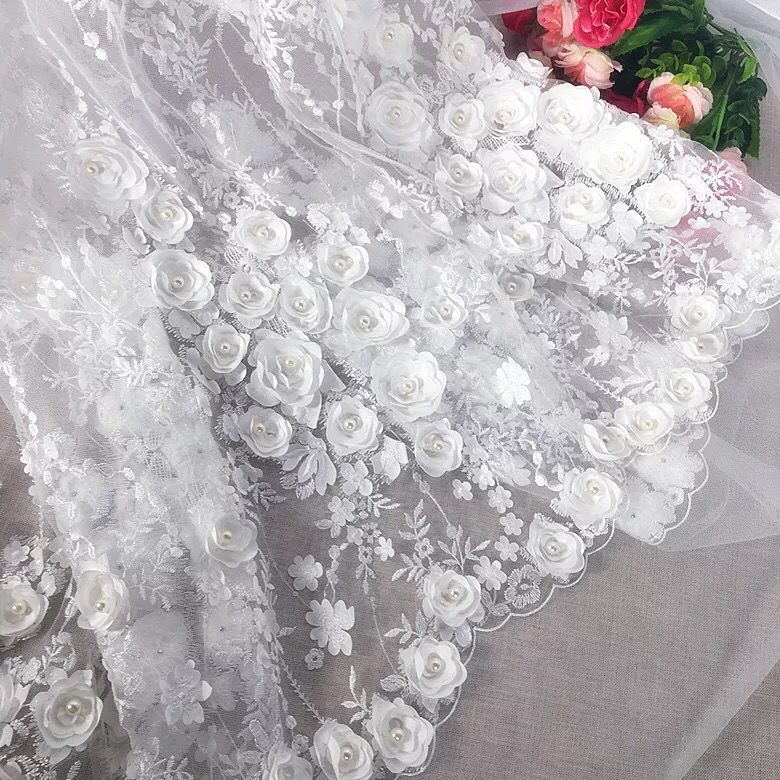 130cm Width Ivory Vintage 3D Blossom Flower Embroidery Tulle Mesh Lace Fabric With Pearl Beads For Wedding Dress/Evening Dress