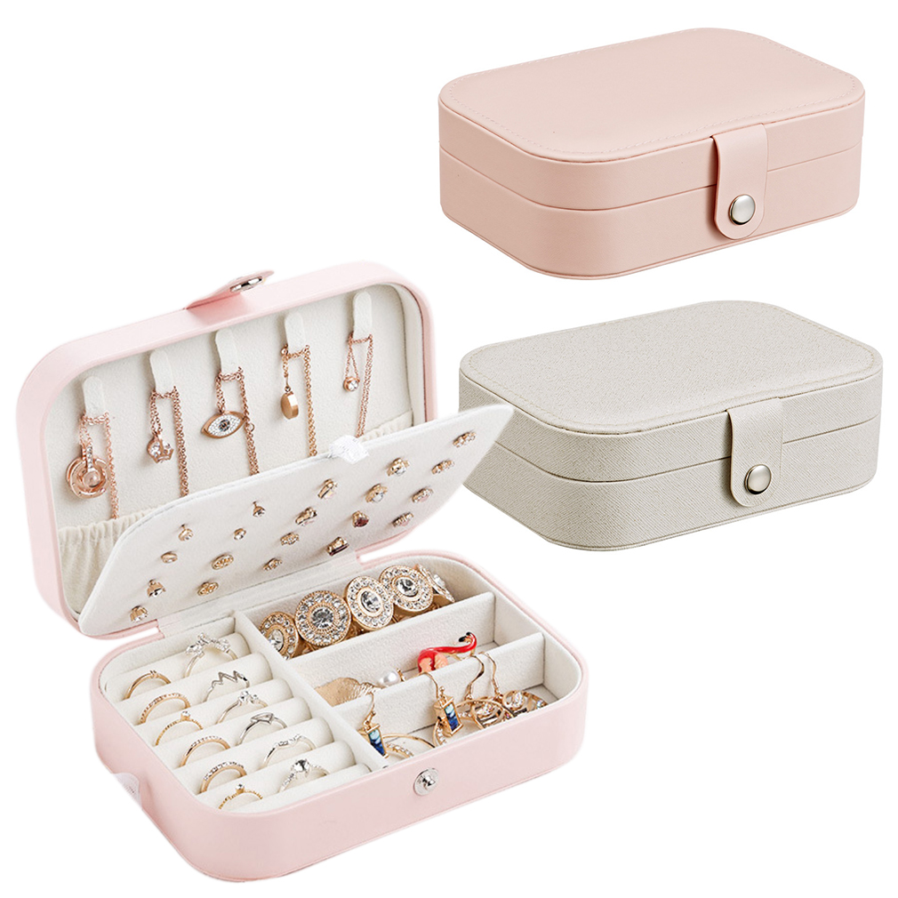 PU Leather Travel Jewelry Box Organizer Display Portable Storage Case For Rings Earrings Necklace