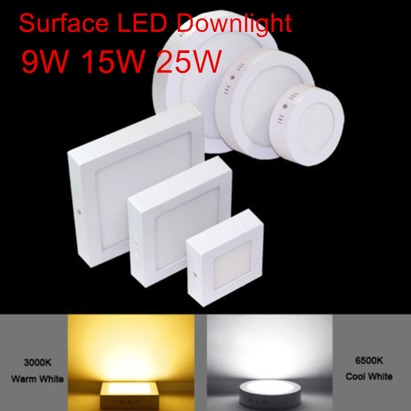 Not Cutting 9W/15W/25W Round/Square Led Panel Light Surface Mounted Indoor Lighting Led Ceiling Down AC85-265V + Driver