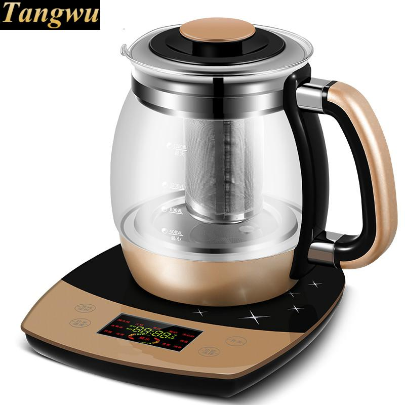 Fully automatic and thickened glass multi-function electric heating kettle flower pot boiling tea ware health raising pot fully automatic thickened glass multi function tea ware mini body electric heating kettle ware