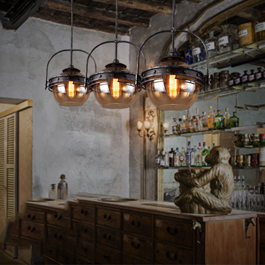 Vintage Amber Glass Pendant Lights,Loft Style Retro Iron Pendant Lamps For  Restaurant Hanging Lamps Industrial Lighting Fixture In Pendant Lights From  ...