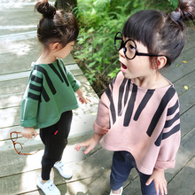 2016 Children's Clothing New Kroean Fashion Baby Girls Cotton Loose Pullover Full Sleeve T-Shiort Cartoon Solid Pretty Cute Tops