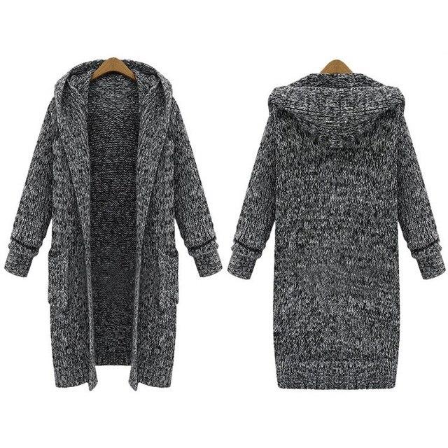 2018 New Autumn Winter Fashion Women Hooded Sweater Coat Pockets Loose Thicken Long Jacket Warm Knit Cardigan Coat