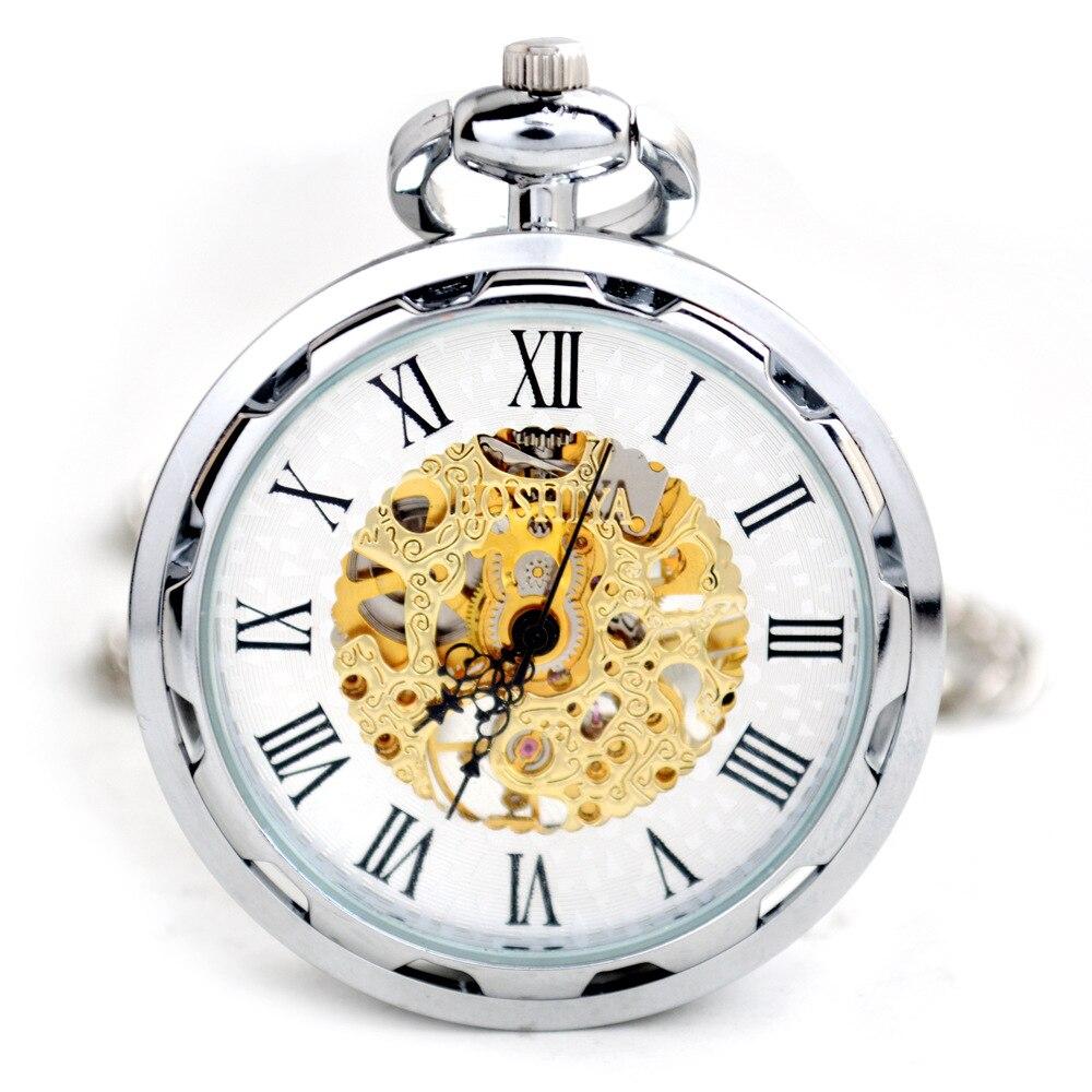 Machine Mechanical Pocket Watch Silver Machinery Hang Casual Mechanical Male Fob Chain Watches Men Women Jewelry Christmas Gifts