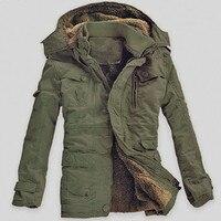 Winter Thick New Fashion Brand Men Warm Fleece Hooded Jacket Coats Long Overcoat Cotton Jackets Mens