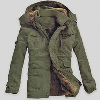 Winter Thick New Fashion Brand Men warm Fleece Hooded Jacket Coats Long Overcoat Cotton Jackets Mens Outerwear Parka Plus 5XL