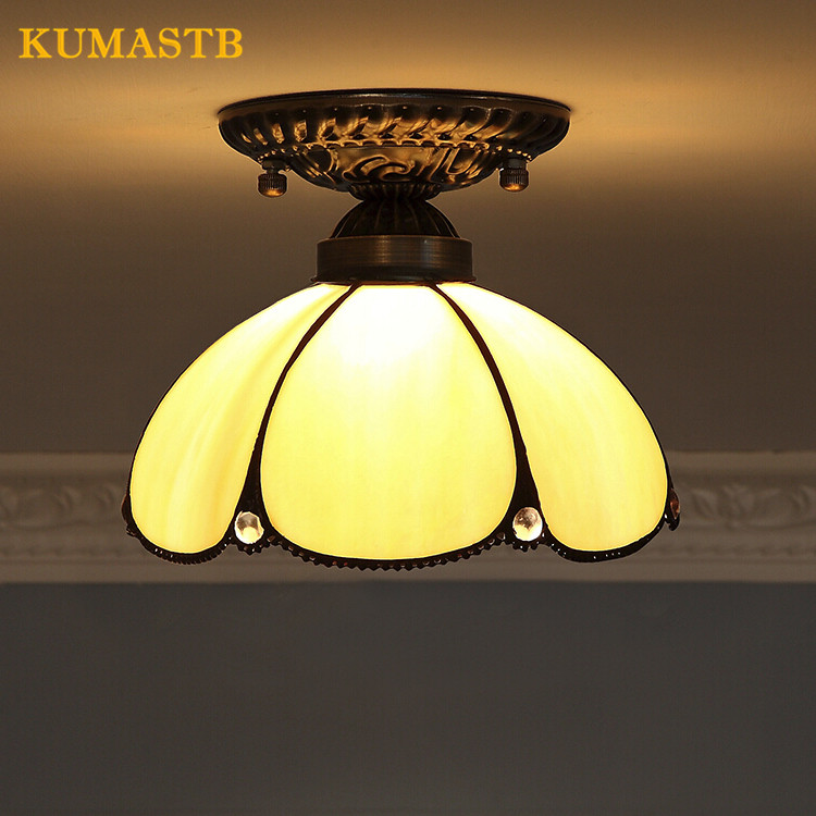 European Minimalist Stained Glass Vintage Ceiling Lights Entrance Balcony Aisle Ceiling Lamps Living Room Kitchen Light Fixture