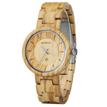BEWELL Ladies Wooden Bracelet Band Wristwatch Gift For Mother Daughter Girl Top Luxury watches Round Watch Clock 155A
