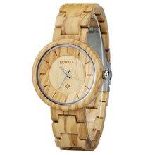 BEWELL السيدات أسورة خشبية الفرقة ساعة اليد هدية للأم ابنة فتاة أعلى الساعات الفاخرة ساعة مستديرة ساعة 155A