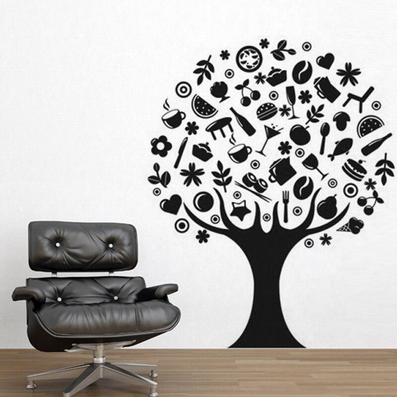Food & Beverage trees DIY Kitchen Wall Sticker Restaurant Art Mural Home Decor Waterproof Wallpaper JG1108