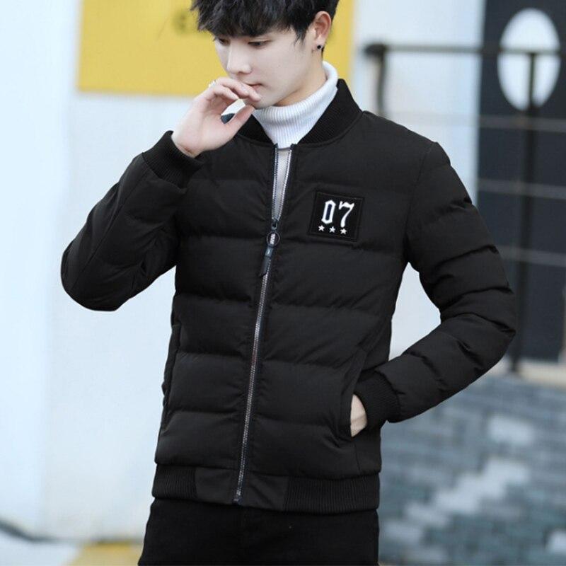 Moda czarny krótki Slim Men bawełna płaszcze New Arrival zimowe ciepłe grube kurtki męskie mężczyzna Plus Size kołnierz bawełna wyściełane w Parki od Odzież męska na  Grupa 1