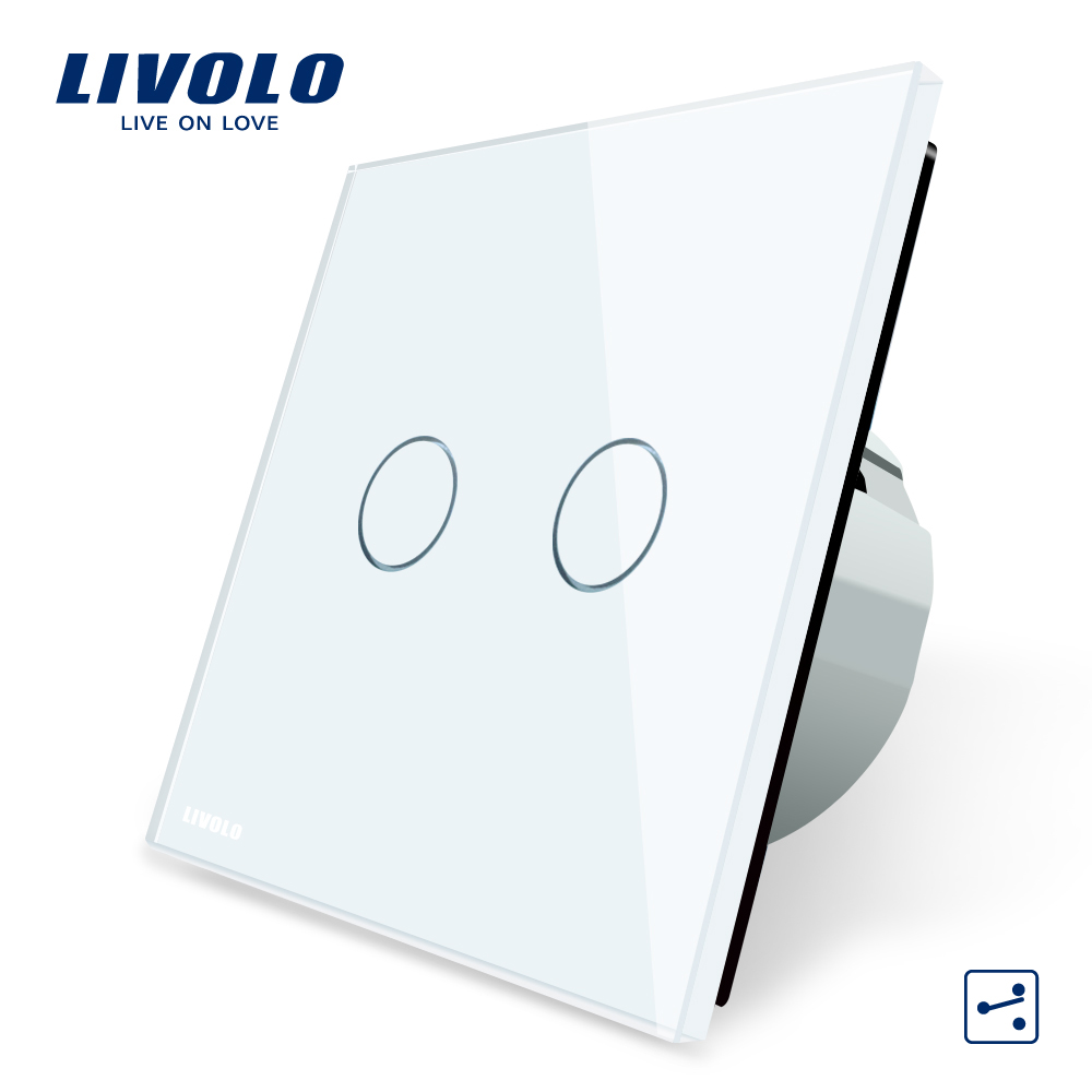 Manufacturer, Livolo EU Standard Touch Switch, 2 Gang 2 Way Control, 3 Color Crystal Glass Panel, Wall Light Switch,C702S-1/2/5 2017 smart home crystal glass panel wall switch wireless remote light switch us 1 gang wall light touch switch with controller
