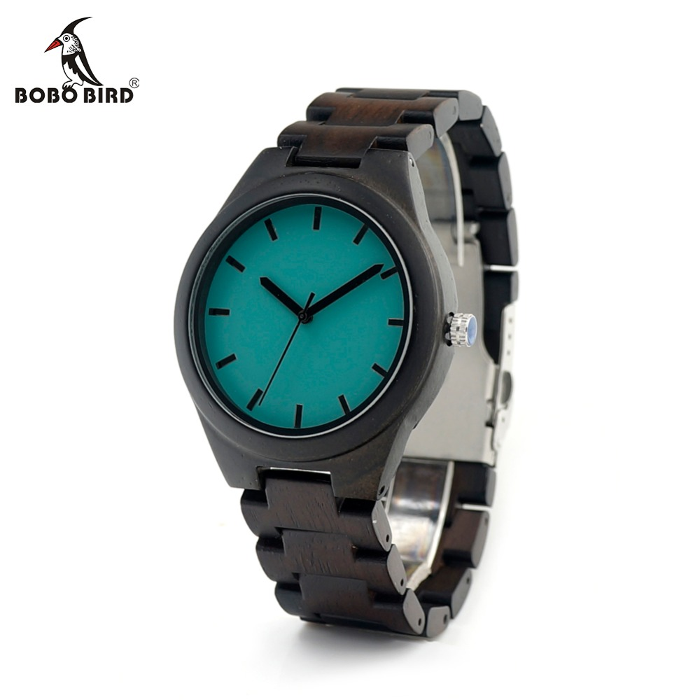 BOBO BIRD CdI21 Ebony Wooden Mens Watch With Luxury Tches Movement Quartz Blue Dial Plate As Gift For Men Relogio ключ воротка jtc 1367