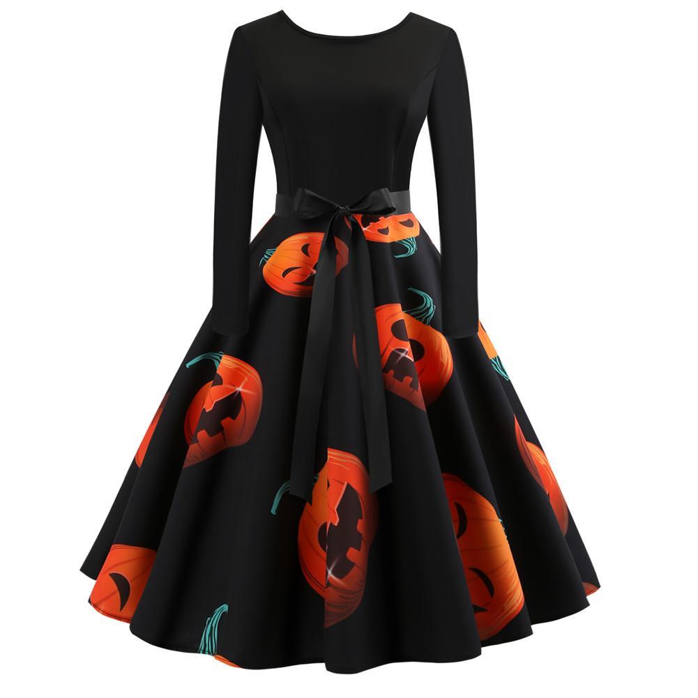Retro Round Neck Long Sleeve Dress Halloween Pumpkin Head Vintage Printing Dress Winter Halloween Pattern Print Party Dress