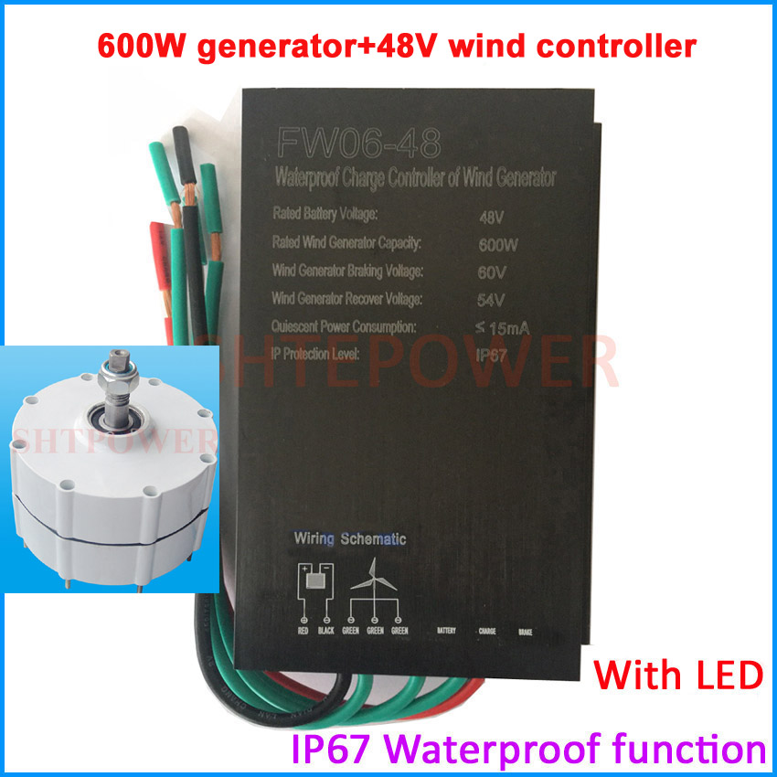 600W generator with wind controller 48V wind turbines system controller with LED generator with holder options three phase AC