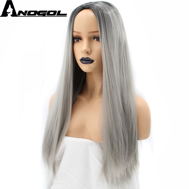 Anogol Natural Long Silky Straight Gray Ombre Dark Roots High Temperature Fiber Middle Part Heat Resistant Synthetic Wigs