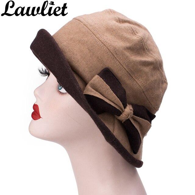 Lawliet Winter Hat Women Wool Cap Cute Bow 1920s Vintage Style Wide Brim  Fall Foldable Fedoras Lady Cloche Travel Church Hat d22f119ca22