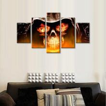 Large Skull Canvas Abstract Wall Art, Yellow and White Print