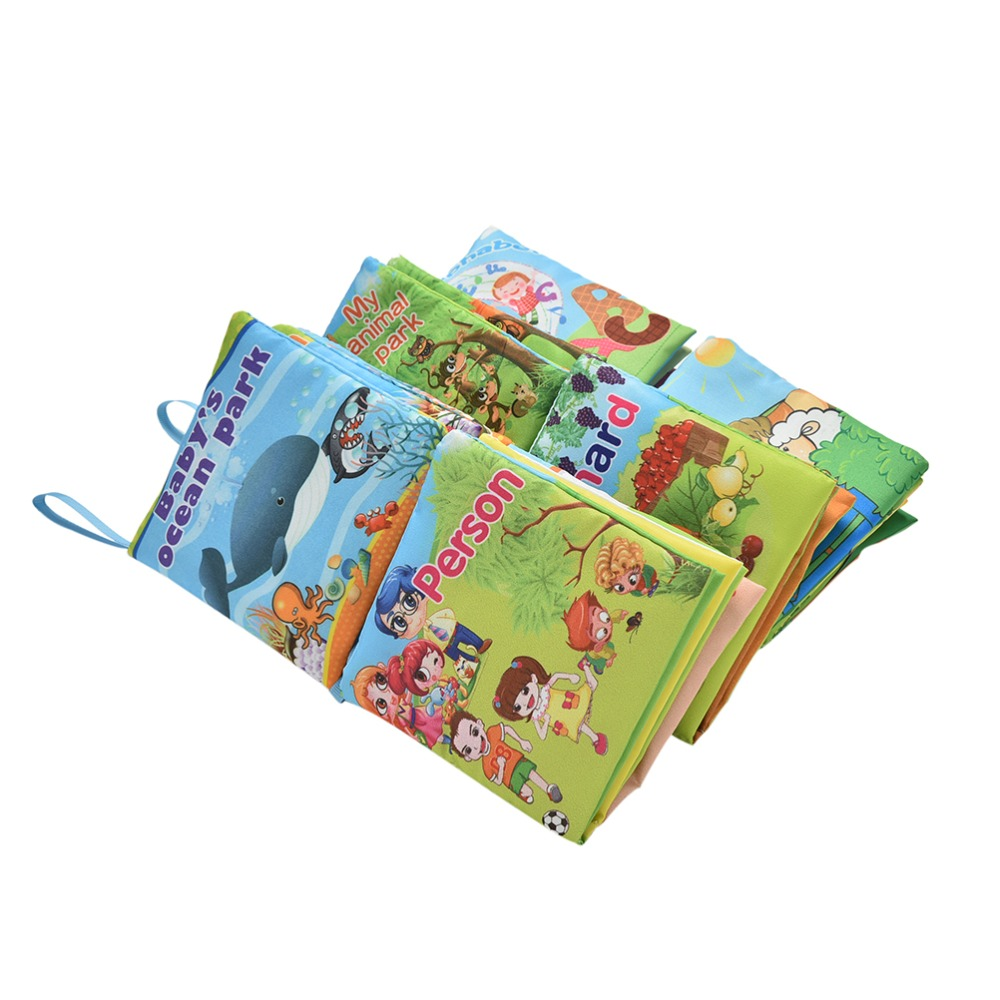 1pcs Fabric Cloth Language Baby Books Learning&Education Baby Toy Cartoon Book 0~12 Months Kids Early Learning Fabric Book