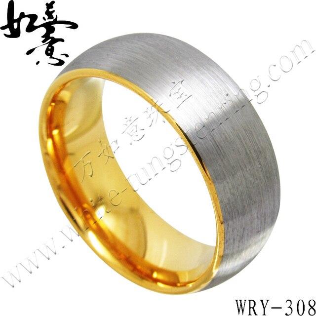 d40e49f58aa0 Envío gratis oro amarillo mens tungsten carburo anillo de dedo la joyería  superficie del cepillo superior 8mm