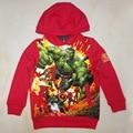 Meninos hoodies caráter avenger/Kid sweatershirt Vermelho/Crianças Primavera auntaumn roupas/roupas para meninos com bolsos (3-7Y)