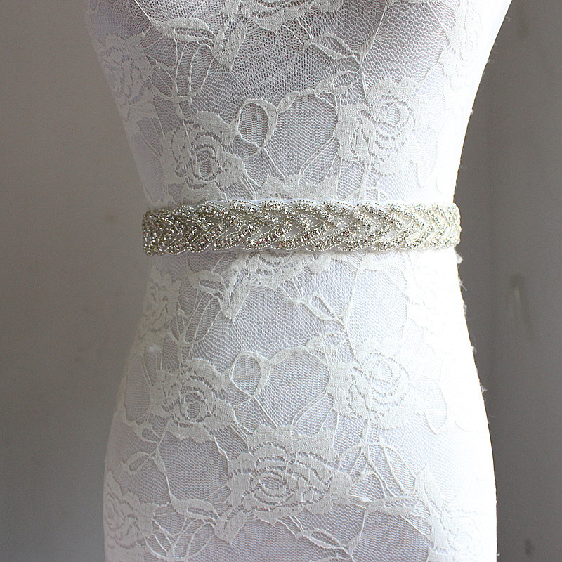 Rhinestone Crystal Satin Wedding Bridal Sashes 2019 White Ivory Long Bride Belt Handmade Formal Waistband Women
