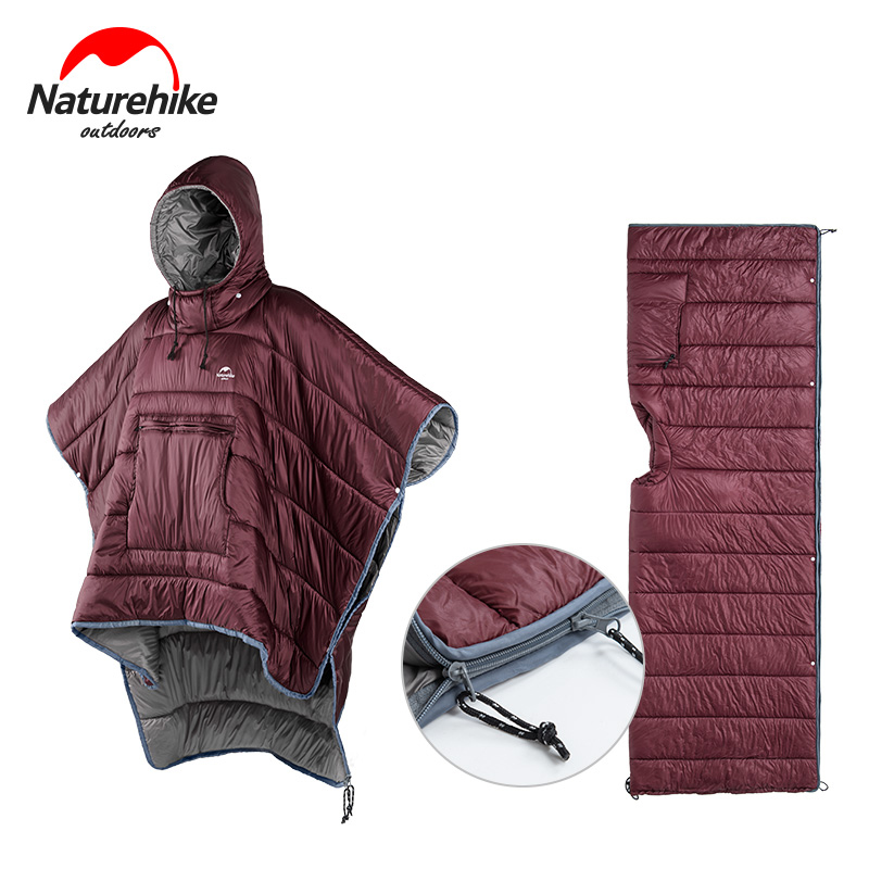 Naturehike Cloak Style Lazy Sleeping Bag Water-resistant Portable Camping Sleeping Bag Backpacking Packable Poncho Sleep Bags