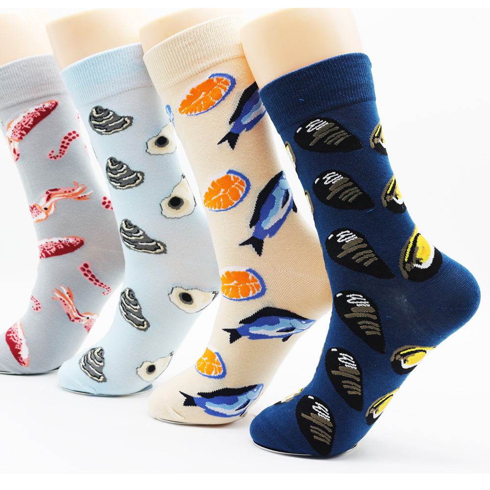New Winter Men's Funny Pattern Fashion Casual Cotton Socks. High Quality Brand Art Creative Funky Socks(4 Pairs)