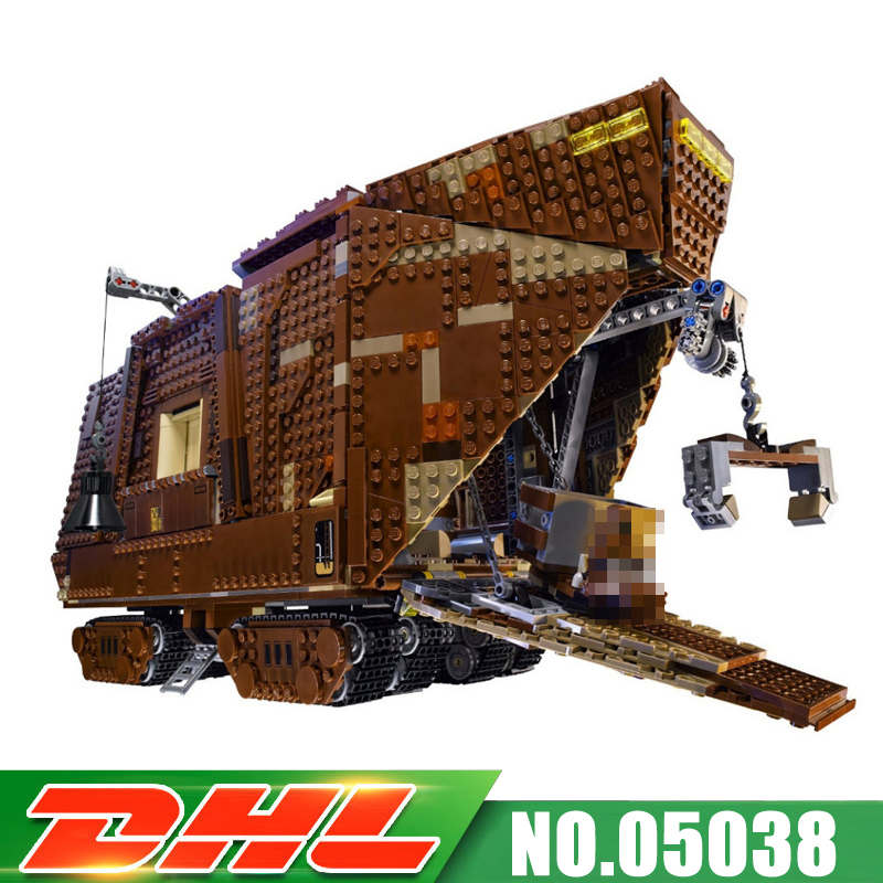 Fit For 75059 LEPIN 05038 3346Pcs UCS Force Awakens Sandcrawler Model Kits Building Blocks Bricks Assembling Gift Toy in stock lepin 05038 3346pcs star force awakens sandcrawler wars model building kit blocks brick compatible 75059 children toy