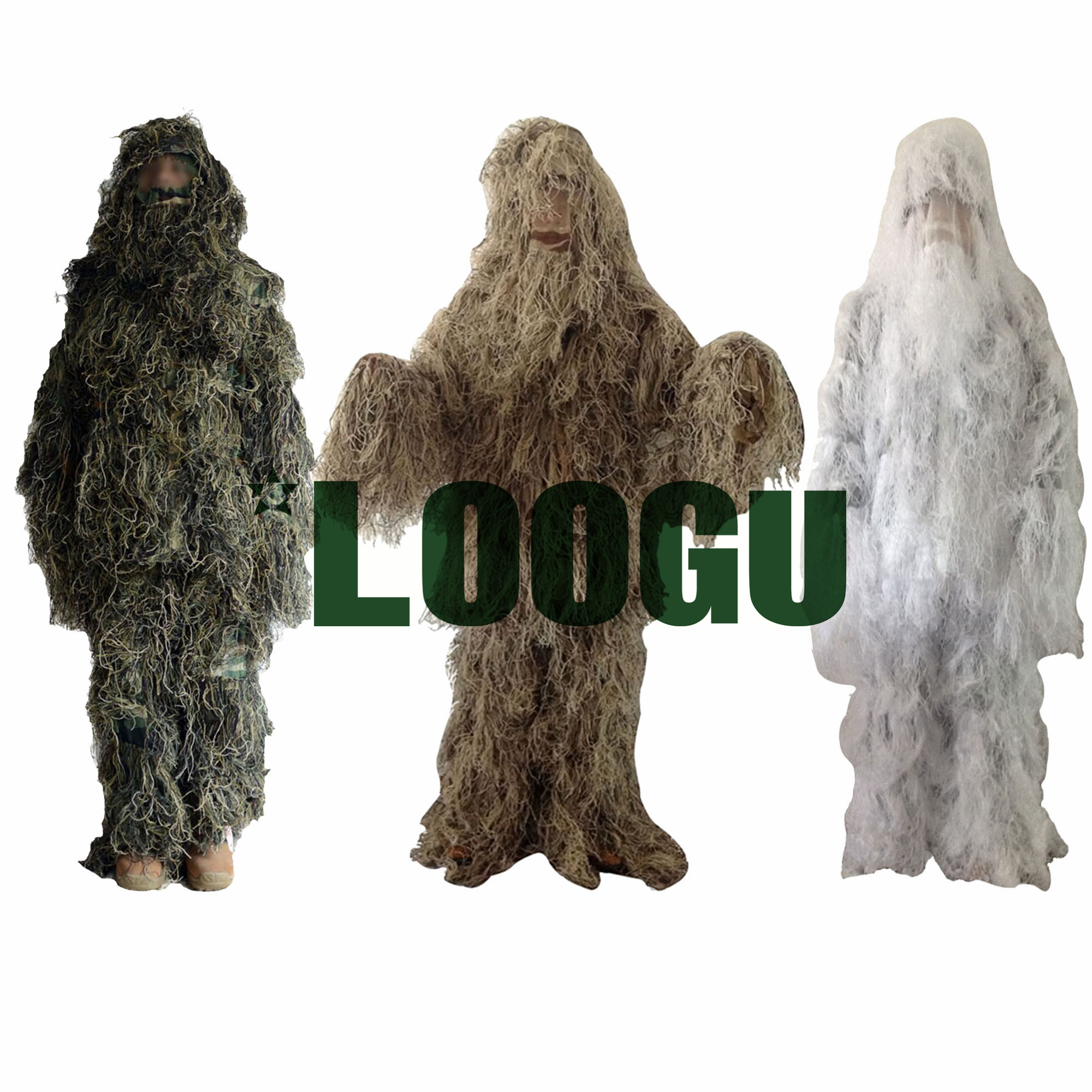 LOOGU Tactical Camo Ghillie Suit Camouflage Jungle Hunting Birding Military Durable Sniper Camouflage Hunting Shade Clothes military camouflage ghillie suit woodland grass hay style paintball leaf jungle sniper clothes hunting tactical shade clothing