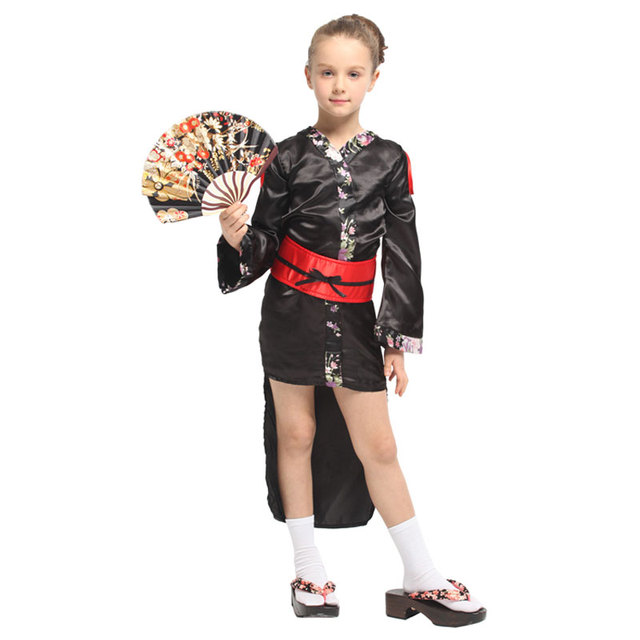 Japanese Traditional Kimono Robe Kids Child Geisha Girl Costume Cosplay Halloween Carnival Mardi Gras Party Fancy Dress