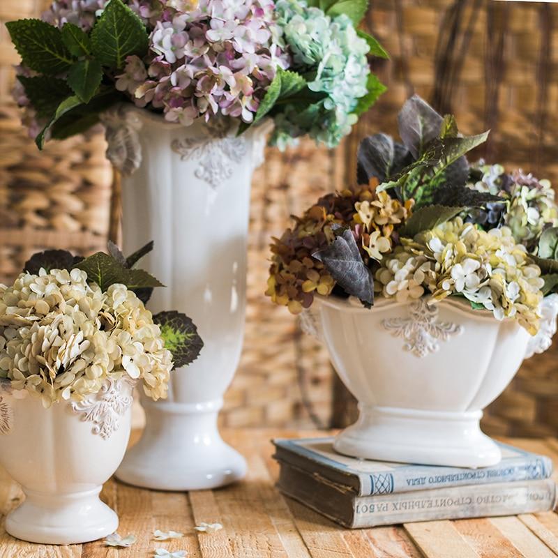 Français classique colonne Pot de fleur accessoires de décoration de la maison moderne en céramique Vase pour fleurs Pot jardinières
