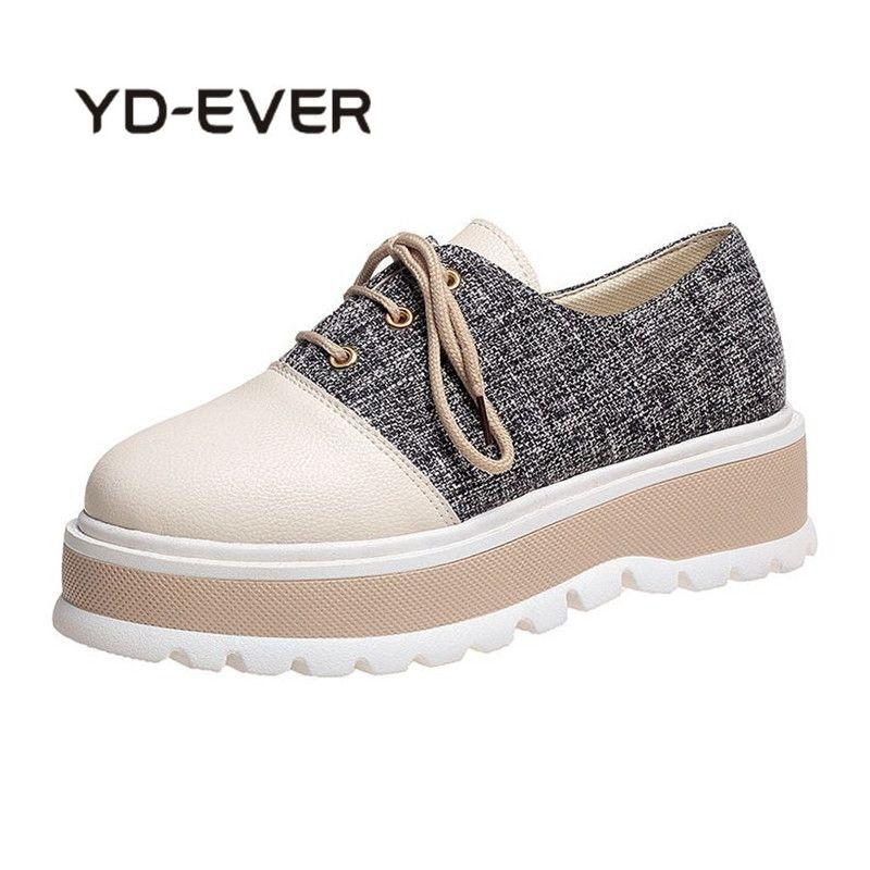 YD-EVER 2018 Fashion Unique Women British Style Sneakers Platform Lace Up Casual Shoes Retro Flat Platform Women Oxford Shoes