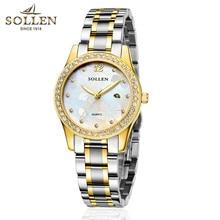 SOLLEN women watches luminous simplicity diamond quartz female watch waterproof calendar watch Uranus strip