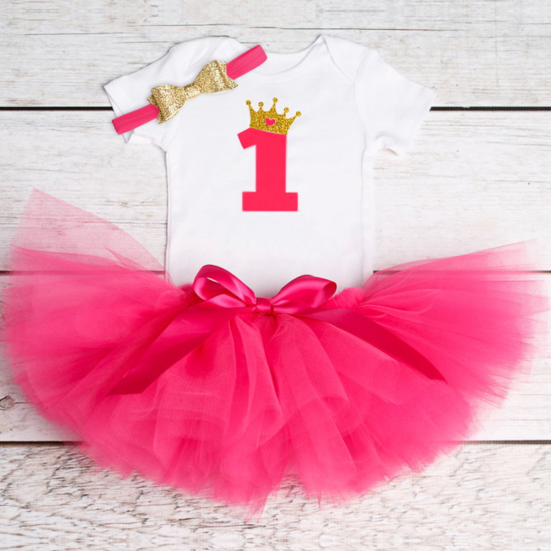 Baby Girl Birthday Party Dress 12 24 Months Baby Girl Princess Dress 1 2 Years Old Birthday Outfits 3 Pcs Sets Dress for Newborn