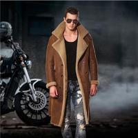 M 4XL зимние меховые один кожаный плащ мужчин натуральной овчины ветровка длинный мех длинные пальто Роскошные ботфорты Меховая куртка