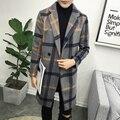 2016 de invierno nuevos hombres de ocio de moda rejilla gruesa gabardina larga de Los Hombres Mezclas joven tela chaquetas de la capa, envío gratis