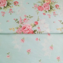 100% cotton fresh elegant Blue floral pastoral flower twill cloth DIY for kid bedding dress shabby chic curtain telas fabrics
