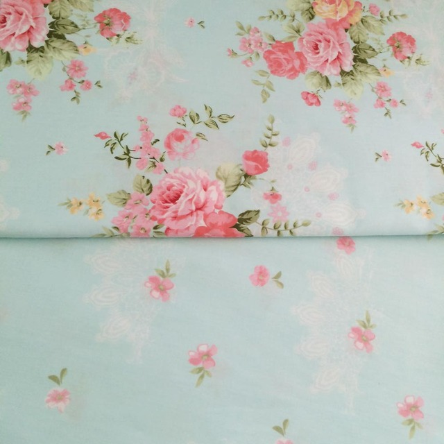 100 Cotton Fresh Elegant Blue Floral Pastoral Flower Twill Cloth DIY For Kid Bedding Dress