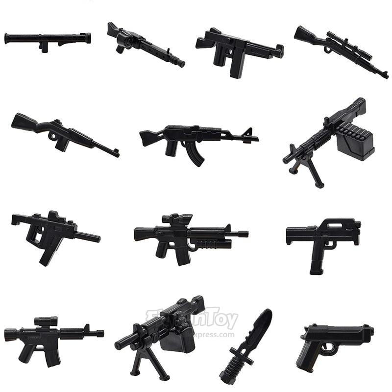 US $1 95 |10pcs/lot WW2 Weapons Bazooka M60 M249 M1A1 AK47 M1 FMG9 Carbine  Weapons Machine Guns MOC Bricks Building Blocks Toys-in Blocks from Toys &
