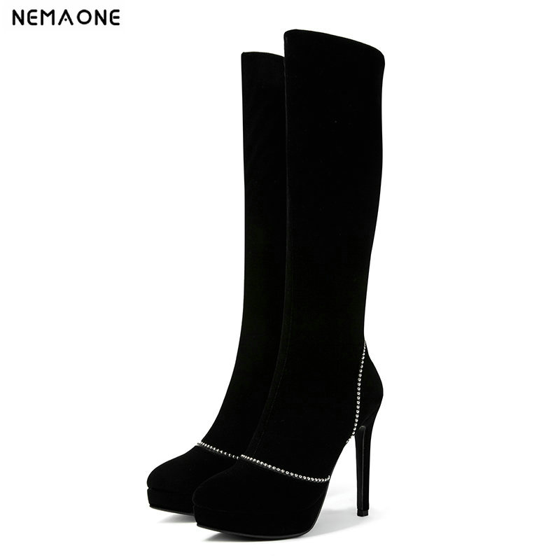 NEMAONE 12cm Super high heels women knee high boots sexy ladies boots plafform spring autumn party