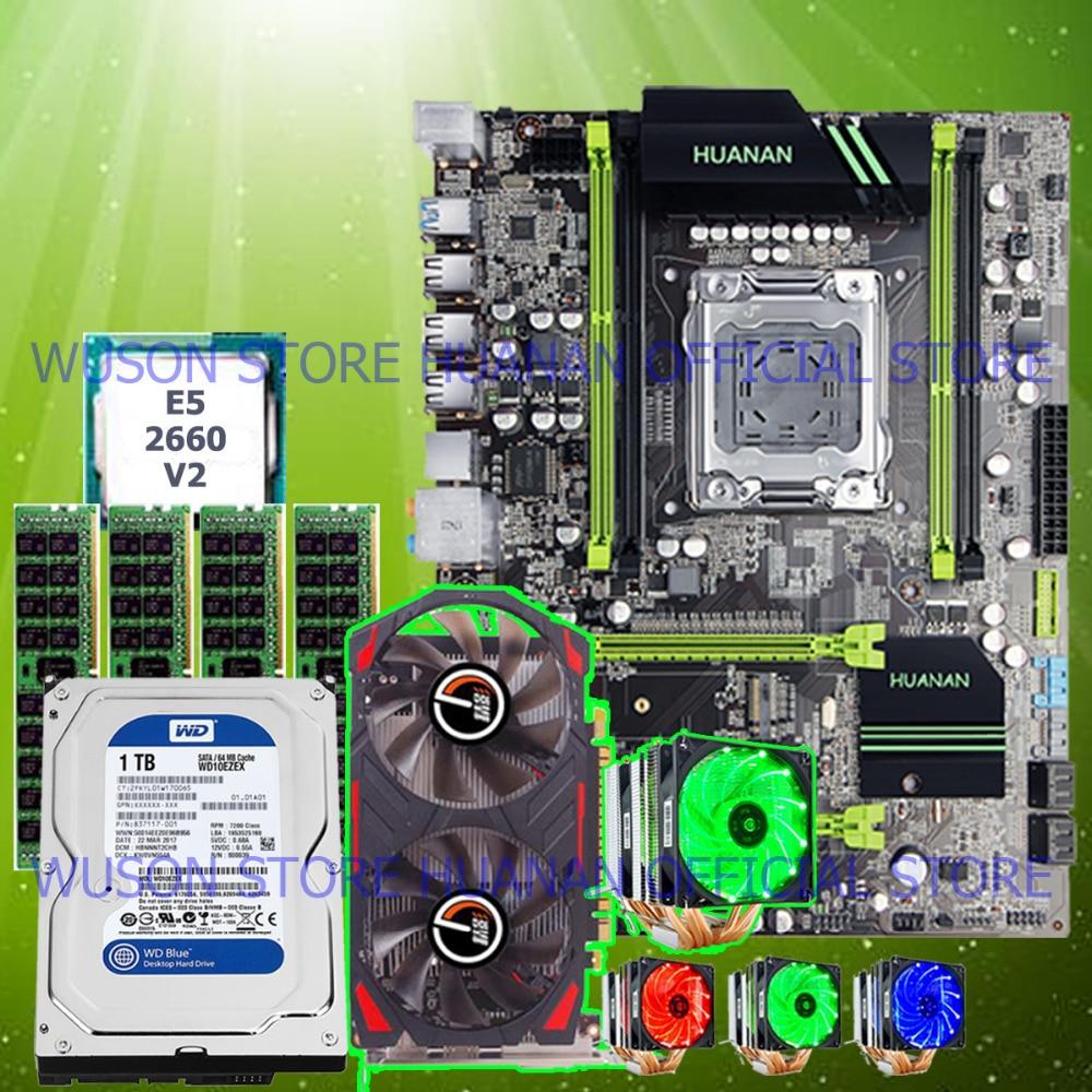 HOT! HUANAN V2.49 X79 motherboard CPU Xeon E5 2660 V2 with 6 heatpipes cooler RAM 32G(4*8G) DDR3 RECC 1TB SATA HDD GTX750Ti 2GD5 термосумка thermos e5 24 can cooler 19л [555618] лайм