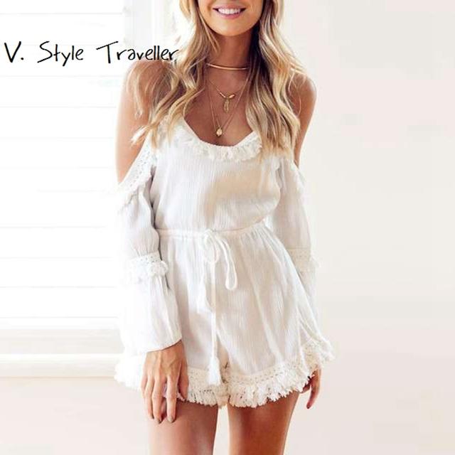 9b2061c14c7 Casual Camis Playsuit Cut Out Sexy Bodysuit Women Shorts Boho Jumpsuit  vestido Summer Style Beach Resort Tassels White Rompers