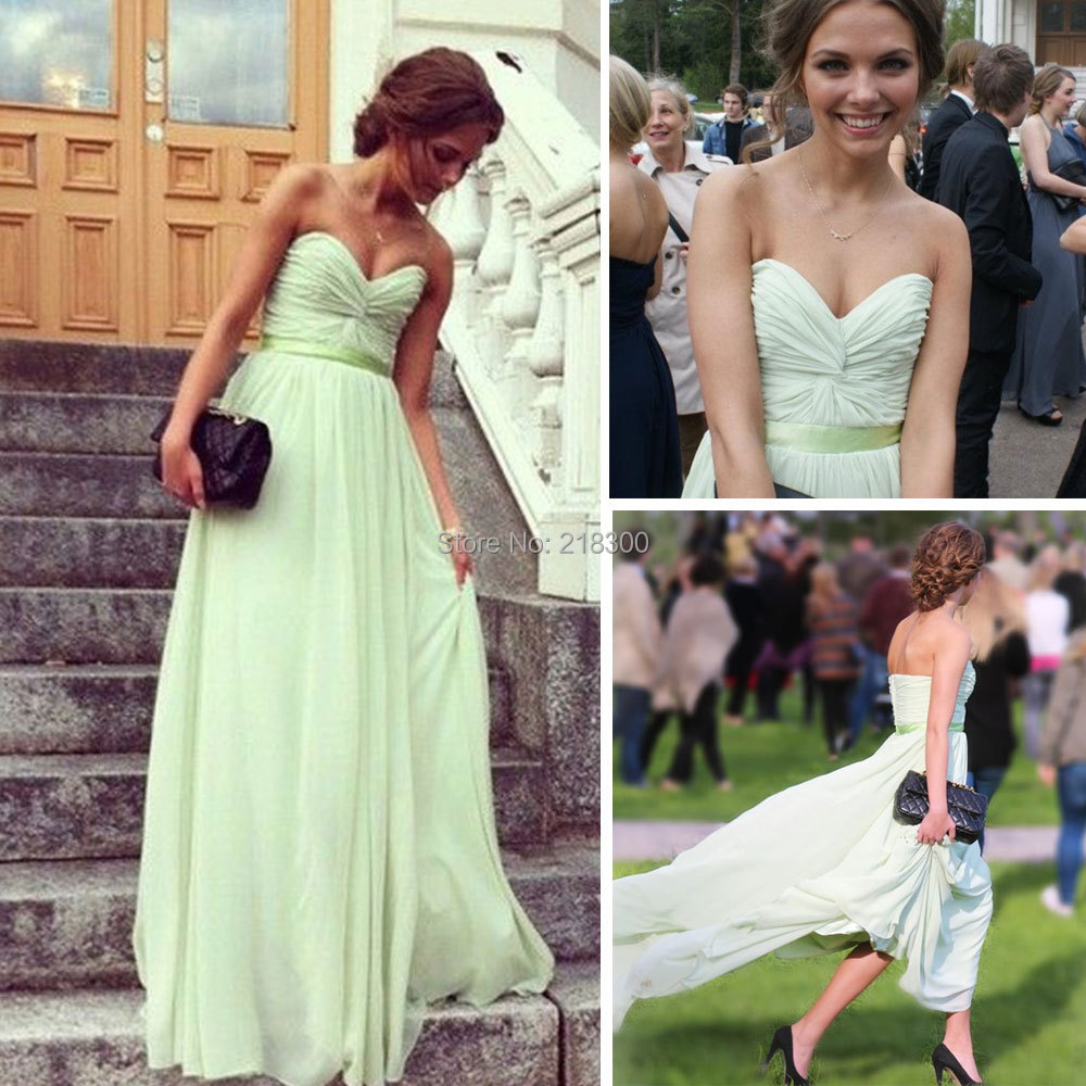 Sage chiffon long prom dresses sweetheart formal dresses for Long wedding dresses under 100