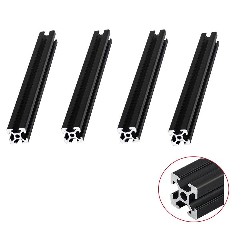 4 pçs/lote preto 2020 perfil de alumínio anodizado padrão europeu extrusão linear ferroviário 200 350 800 mm comprimento para cnc impressora 3d