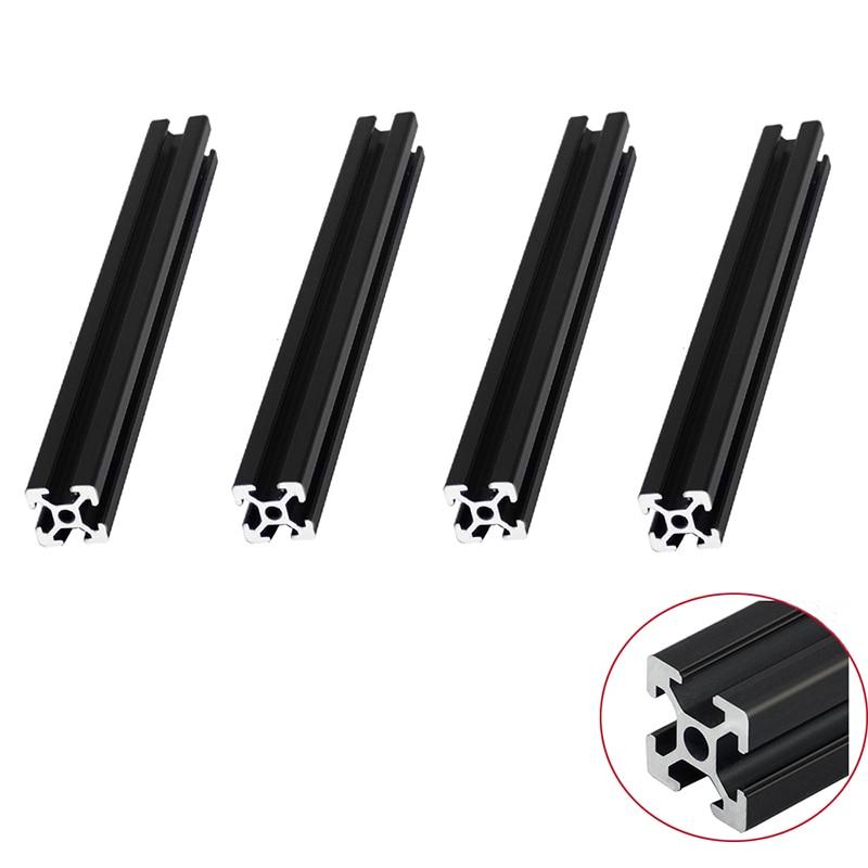 Trilho linear extrusão anodizado padrão europeu, 4 pçs/lote perfil preto 2020 200 350mm comprimento para cnc 3d impressora industrial,